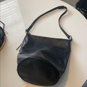 Black Leather Madewell Bucket Bag